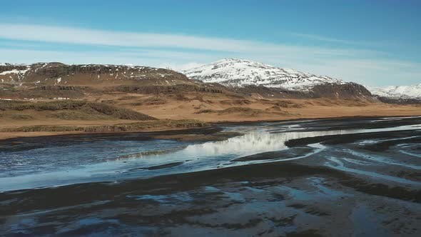 Aerial View of a Glacial River System in the South of Iceland