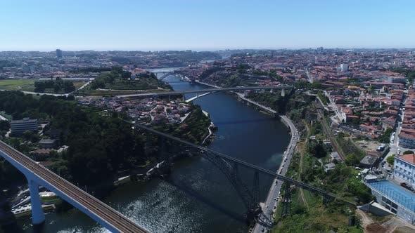 Thumbnail for Flying Over Bridges on Historic City of Porto, Portugal