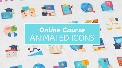 Online Course Modern Flat Animated Icons