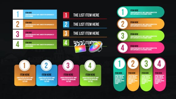 Thumbnail for Infographic Modern Lists-Final Cut Pro