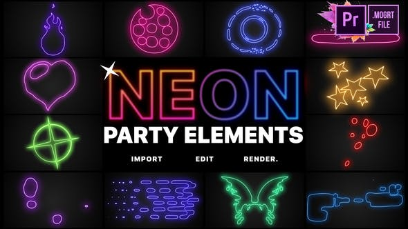 Thumbnail for Neon Party Elements | Premiere Pro MOGRT
