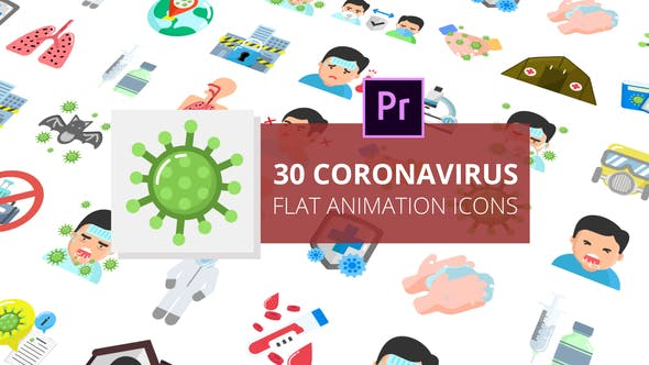 Thumbnail for Coronavirus Flat Animation Icons | Premiere Pro MOGRT