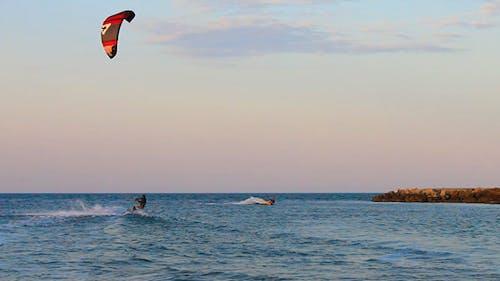 Kite Surfers In The Sea