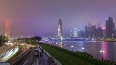 Guangzhou Cityscape China with Boats Traffic