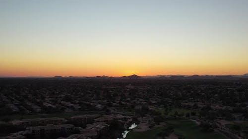 Parallaxing Aerial Of A Desert Sunset