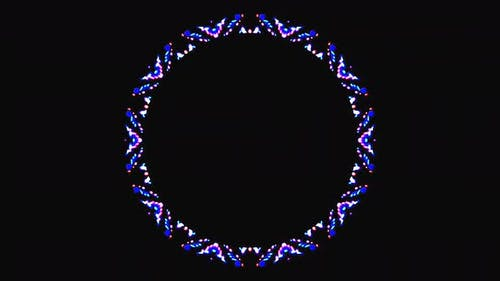 black background. For show, colorful bright ornaments. round shape