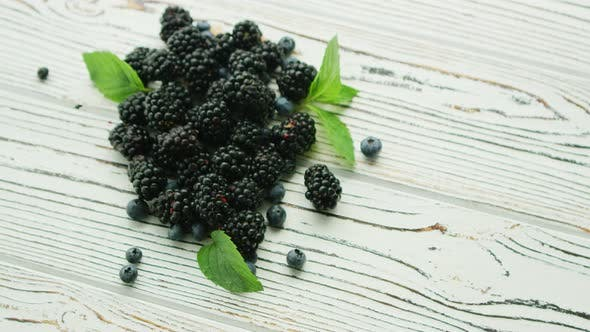 Thumbnail for Heap of Blackberry with Mint Leaves