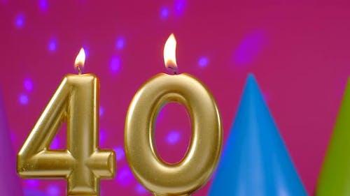 Burning Birthday Cake Candle Number 40