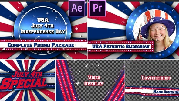 July 4th USA Patriotic Broadcast Promo Pack - Premiere Pro
