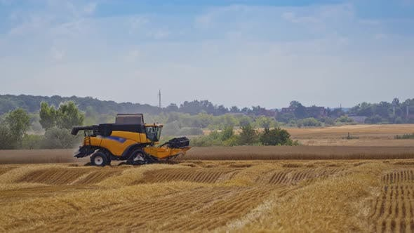 Thumbnail for Modern Combine Harvester on the Field