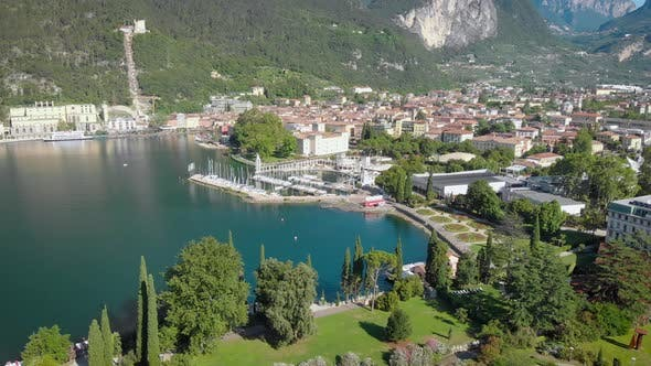 Thumbnail for Aerial View. Riva Del Garda, a Resort Town in Northern Italy. The Medieval Part of the City