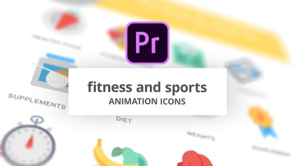Thumbnail for Fitness and Sports - Animation Icons (MOGRT)