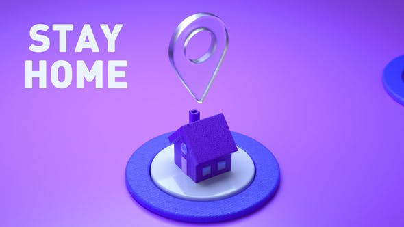 Houses and locations pin on a violet purple isometric background