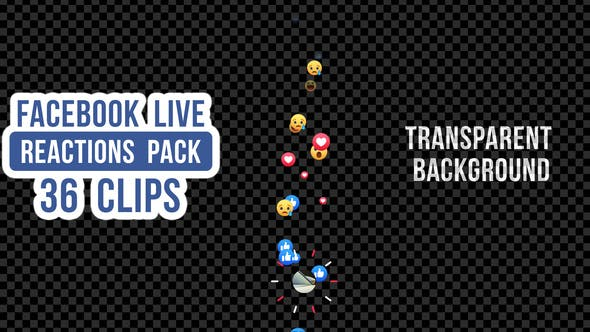 Thumbnail for Facebook Live Reactions Pack - 36 Clips