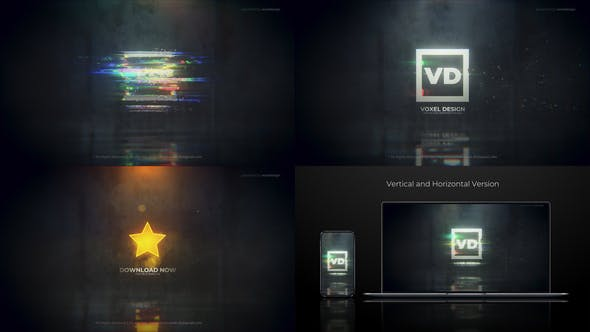 Glitch Dissolve Logos Transitions Reveal