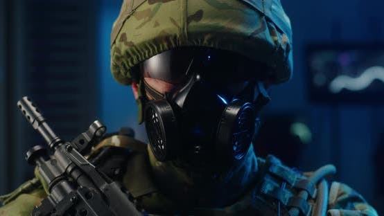 Thumbnail for Portrait of Soldier in Full Combat Gear