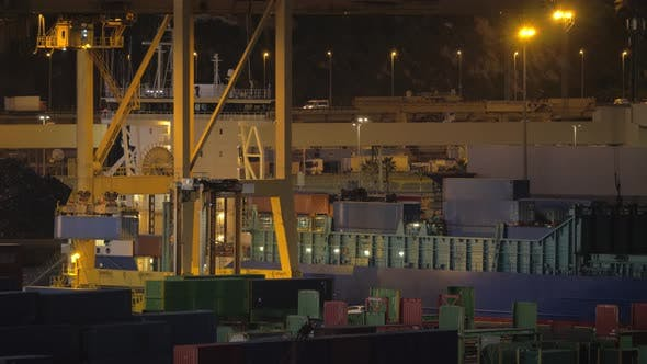 Thumbnail for A Night View of a Cargo Ship Loading at Barcelona Port