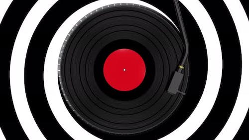 Vinyl Disc Record Spinning on Abstract Moving Background
