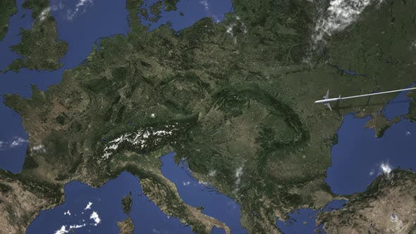 Route of a Commercial Plane Flying To Munich