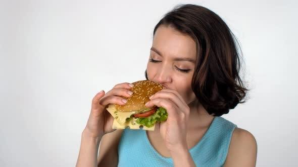 Thumbnail for Beautiful Woman Enjoying Burger