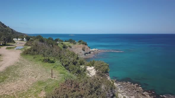 Thumbnail for Aerial View of Beautiful Shore of Cyprus Near Blue Water of Mediterranean Sea