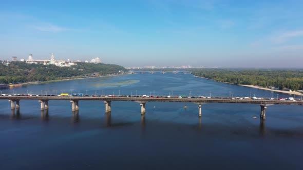 City Traffic on Patona Bridge in Kiev
