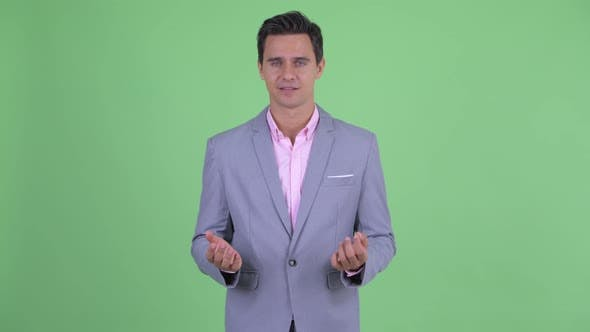 Cover Image for Happy Young Handsome Businessman Explaining Something