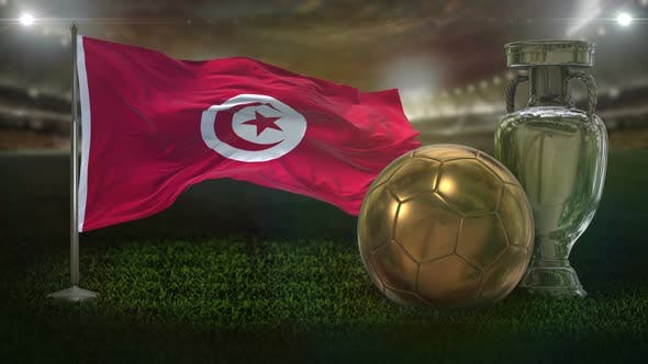 Tunisia Flag With Football And Cup Background Loop