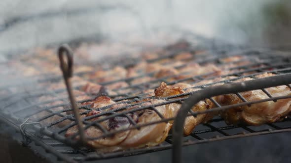 Chicken Barbecue At The Stake