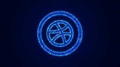 Social Media Dribbble Icon Hologram