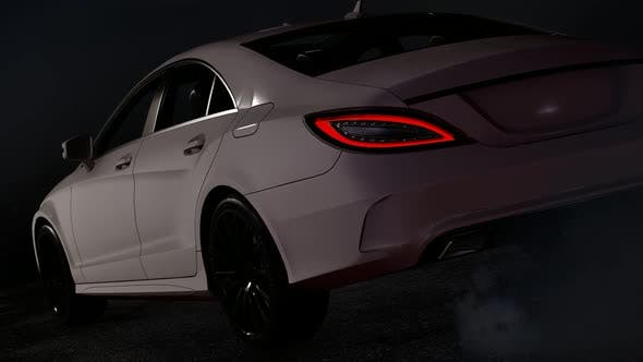 Thumbnail for Luxury Sports White Car Standing in a Parking Lot