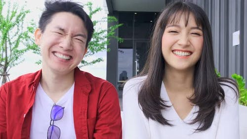 Happiness asian couple laugh smile together with cheerful happiness humor