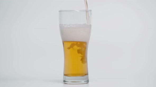 Slow Motion of Pouring Beer in Glass 1000 Fps