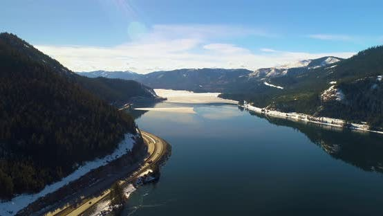 Mountain Pass Lake Highway Aerial Sunny Bright Day Interstate 90 Snoqualmie Pass Washington