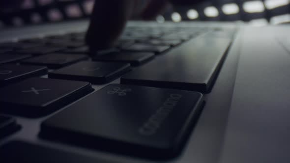 Thumbnail for Man Hands Typing Text on laptop.Person Pressing Buttons on Keyboard with Fingers