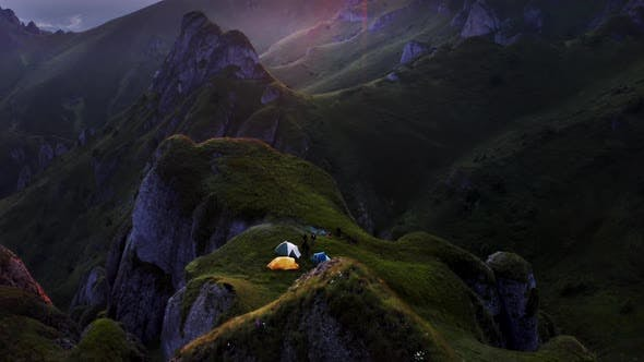 Thumbnail for Camping on the Mountain at Sunset During Autumn