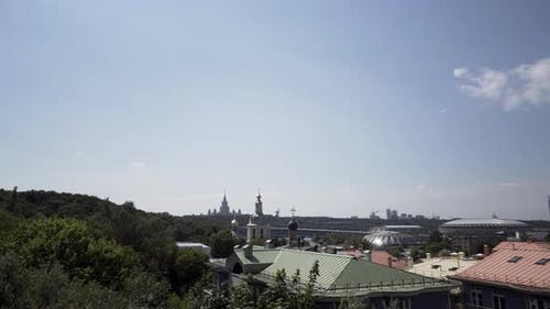 Beautiful cityscape of Moscow on blue sky background