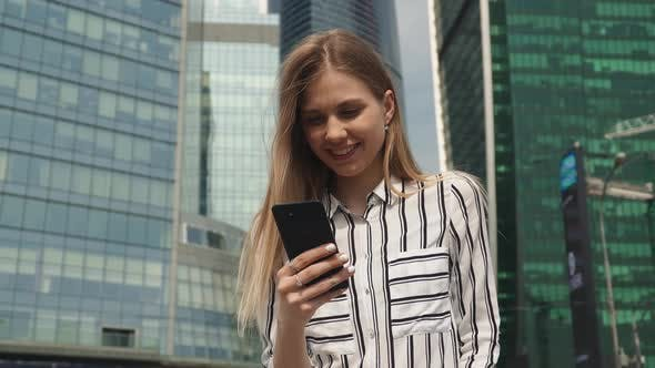 Thumbnail for Modern Woman Use Phone City Outdoor, Happy Smiling Student Walking Street Happy Office Backgound
