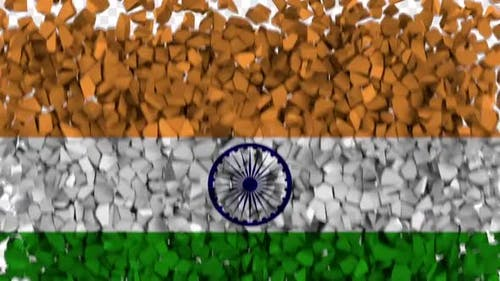 India Flag Breaking Rocks Transition