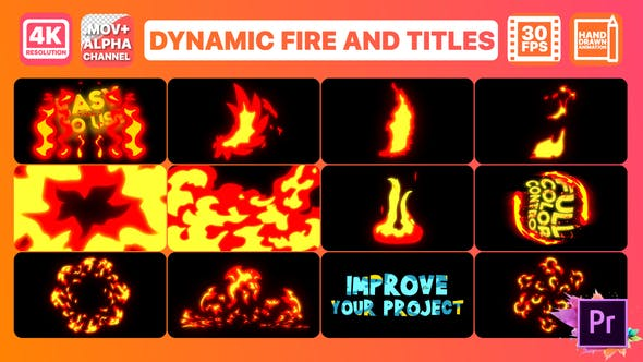 Thumbnail for Dynamic Fire And Titles | Premiere Pro MOGRT