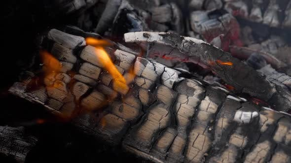 Cover Image for Slow Motion Fire Burning Charcoal and Flame Glowing Burn