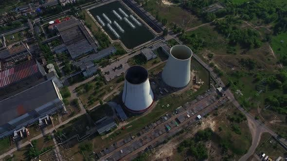 Thumbnail for Pipe on Power Generation Plant. Drone View Chimney on Hydro Power Station