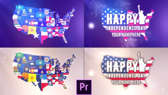 Thumbnail for USA States Flag Logo - Premiere Pro