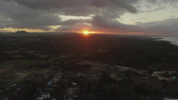 Thumbnail for Sunset Over Mauritius Island, Aerial Shot