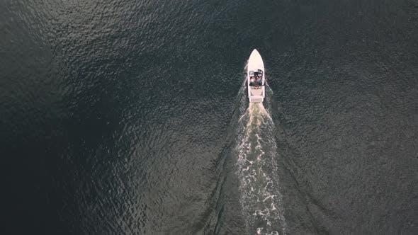 Aerial speedboat on water