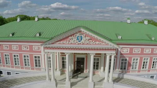 Aerial shot of architecture museum and park Tsaritsyno, Moscow