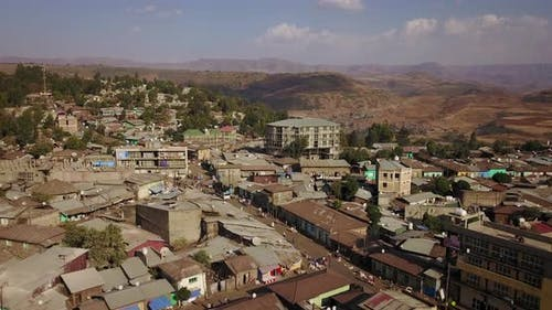 Flying above the city of Gondar in Ethiopia, Africa. 4K