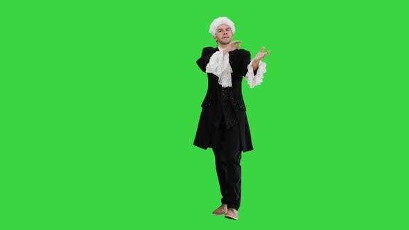 18Th Cent Music Director Conducting with Inspiration on a Green Screen, Chroma Key
