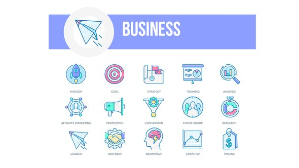 Thumbnail for Business - Filled Outline Animated Icons