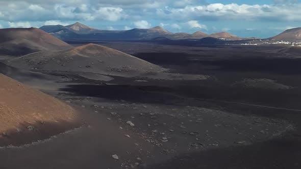 Aerial of Timanfaya, Lanzarote, Canary Islands